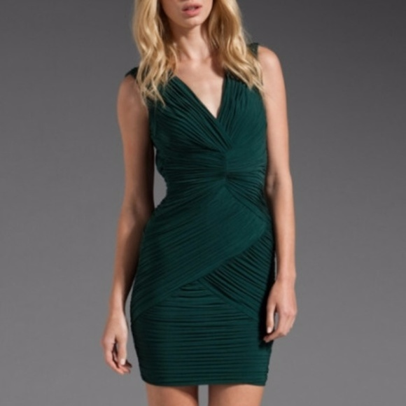 BCBG Dresses | Maxazaria Dark Green Cocktail Dress | Poshmark